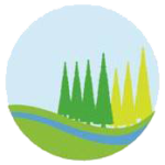 Roundel from Parish Council logo with green and pale green trees and blue wavy line