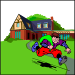 Cartoon man with a green sack running away from a house