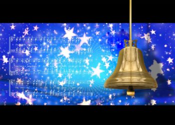 Blue starry background with gold bell