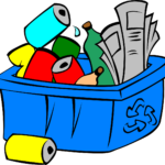 Cartoon style picture of blue recycling box with red, yellow and green bottles and cans and paper