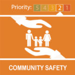 Orange community safety logo with hands above and below group of 2 adults and 2 children