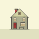 Simple illustration of a house with front door, 3 windows and a chimney
