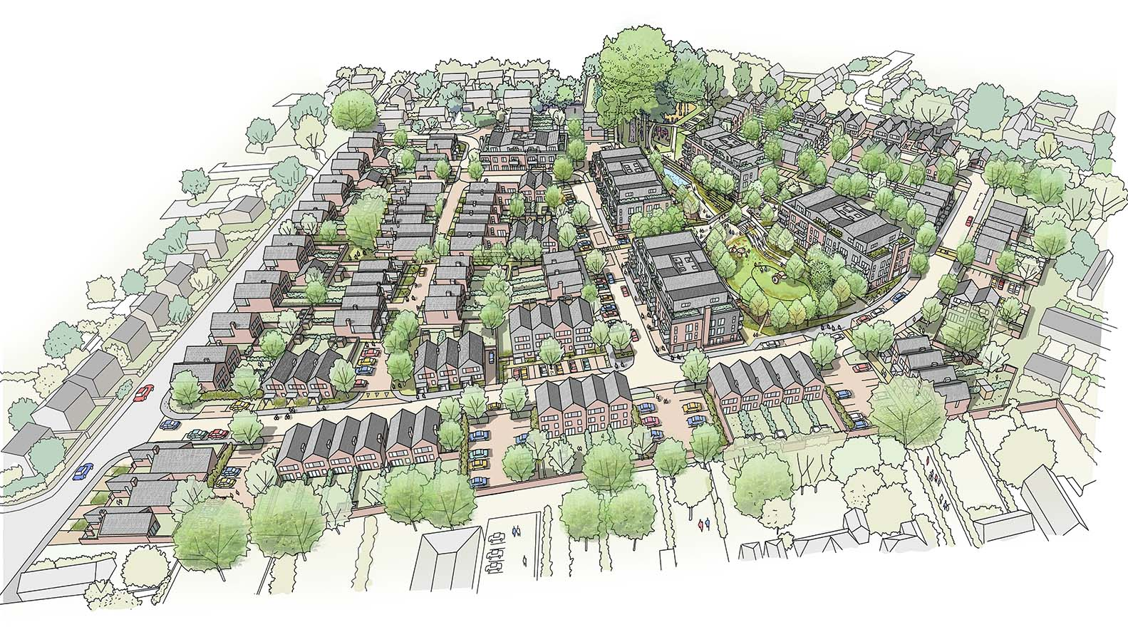 Illustration of the future housing at Gorse Ride
