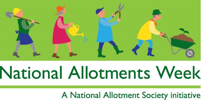 National Allotment Week banner showing figures with tools and wheelbarrow