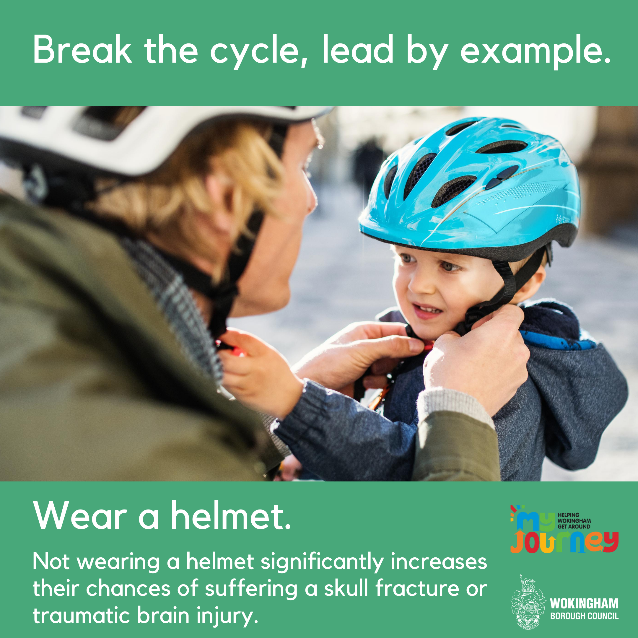 Adult wearing a helmet putting a helmet on a child. Plus text.