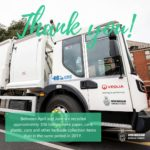 Large white recycling truck with thank you written across it