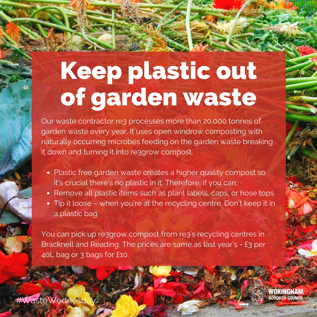 Poster asking for plastic to be kept out of garden waste and saying re3grow compost is available