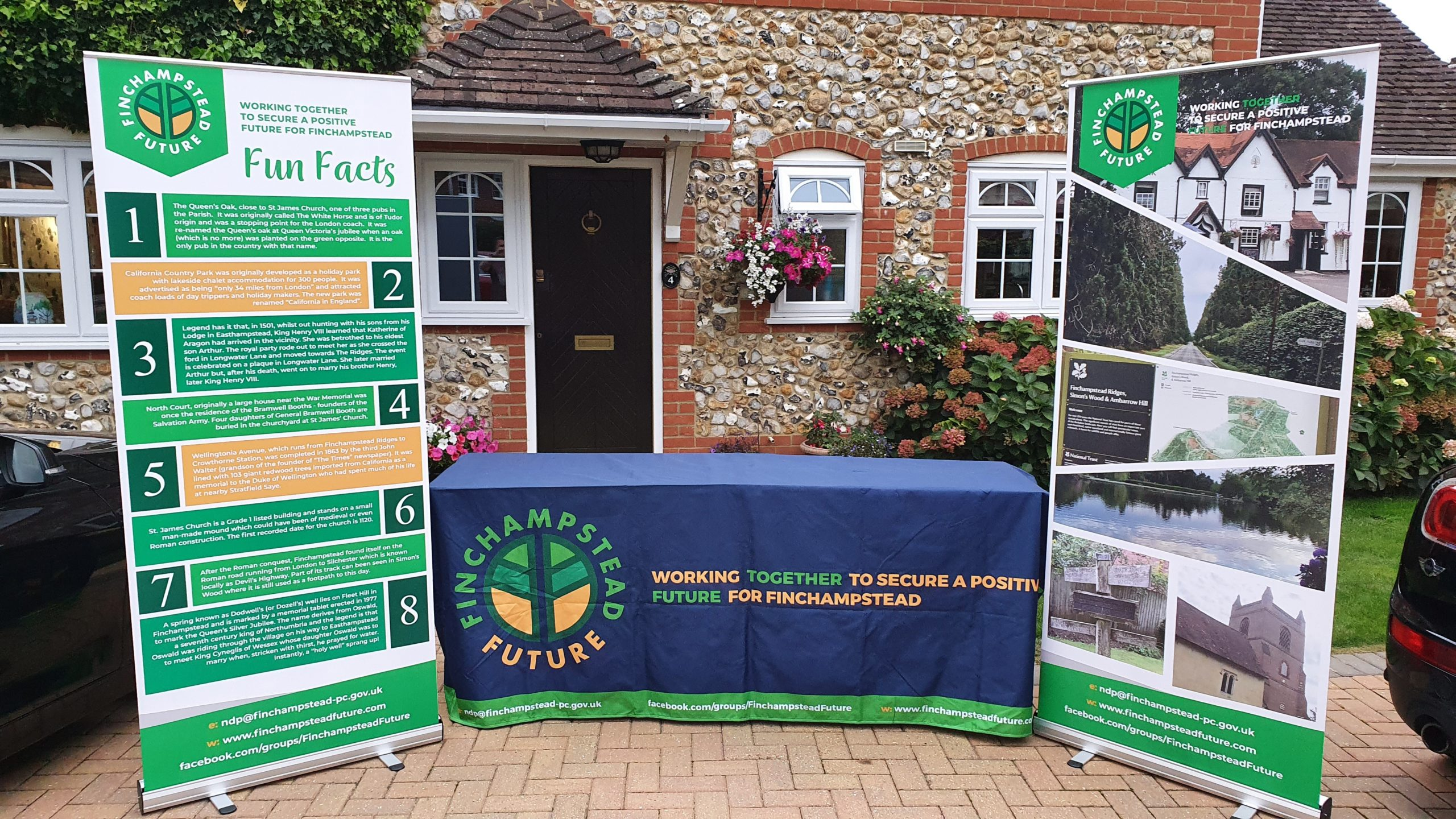 Two banners with images and fun facts about the parish - promoting the Neighbourhood Development Plan