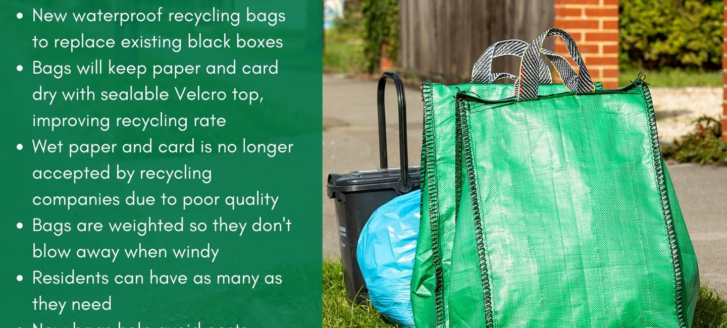 New green recycling bags with text about reasons and advantages