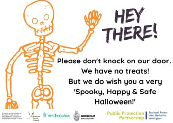 skeleton with please dont knock on our door message