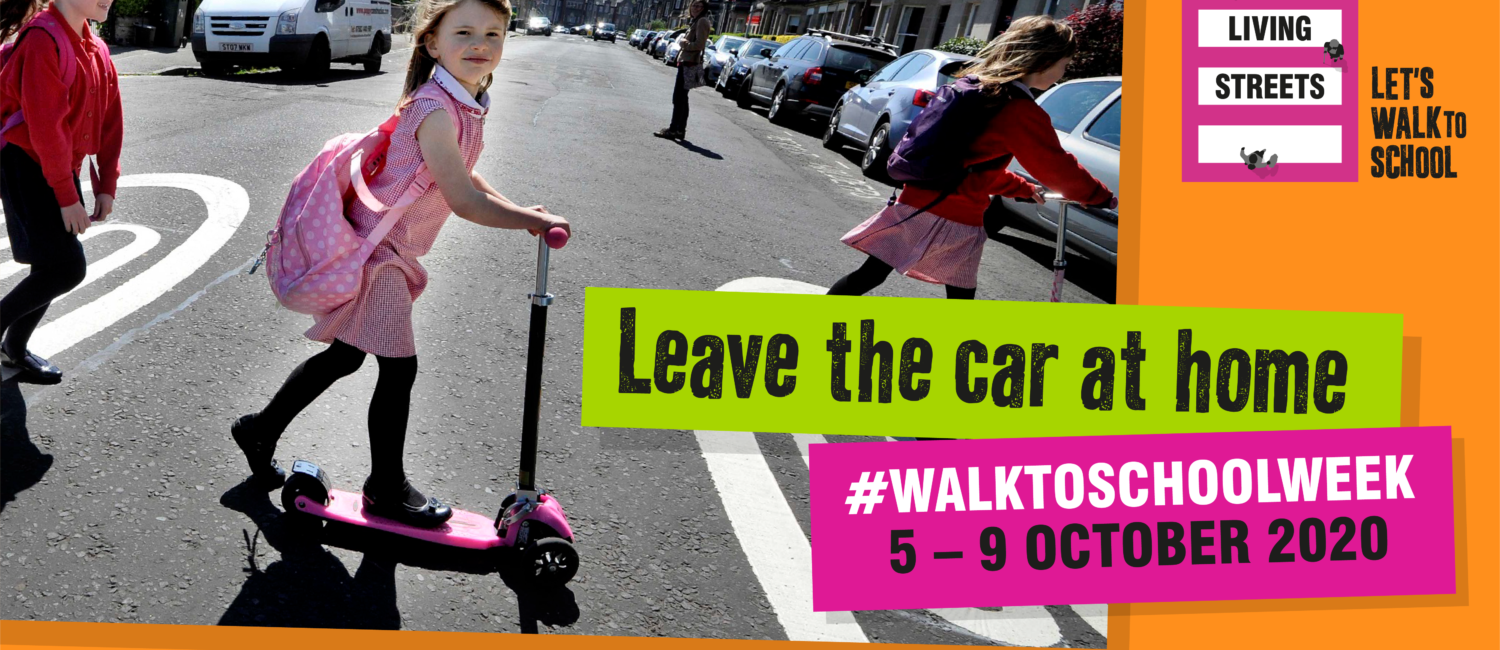 Children scooting and walking across the road with Leave the car at home text
