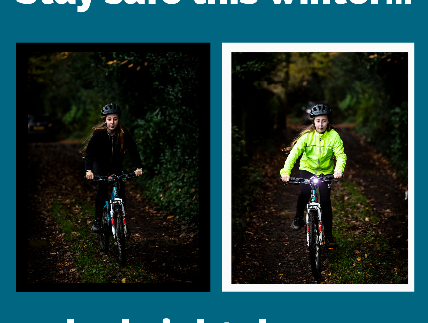Picture of child in dark clothing on bicycle and another in hi vis clothing