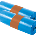 two rolls of blue bags