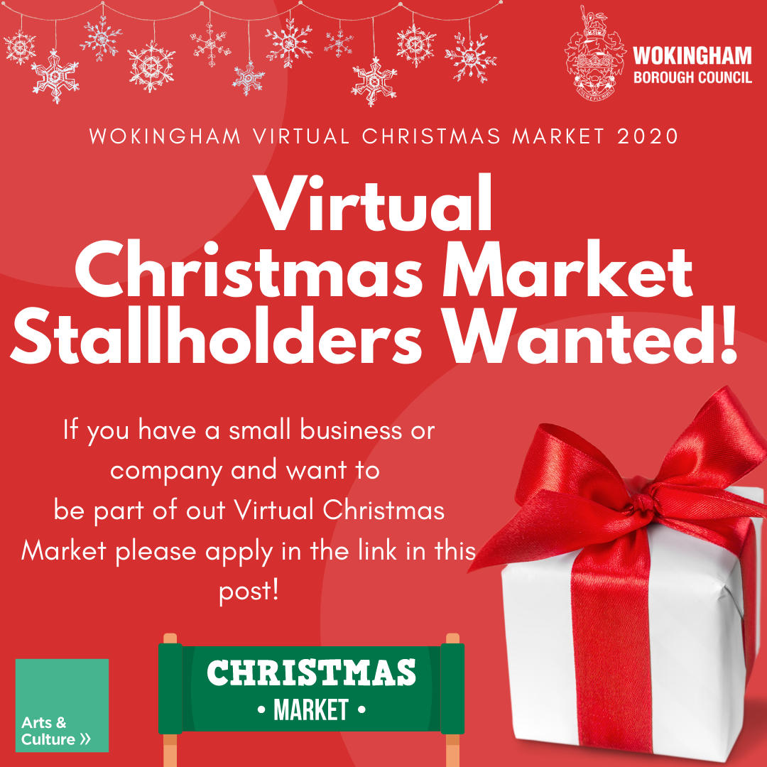 Red poster with Virtual Christmas Market Stallholders wanted