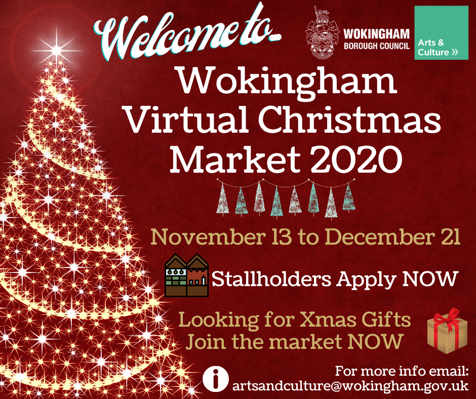 Poster with Christmas tree Welcome to Wokingham Virtual Christmas Market