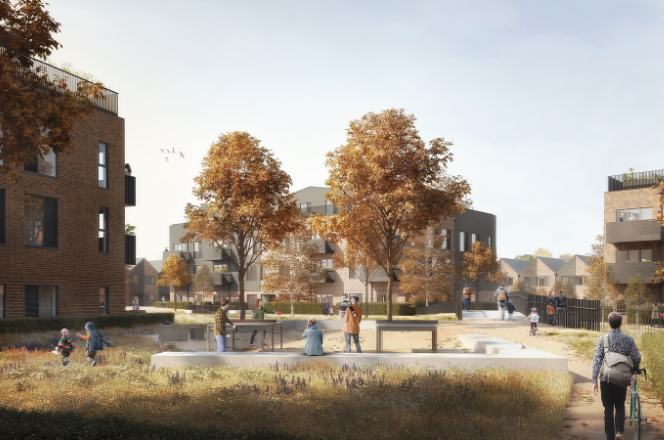 Artists impression of Gorse Ride phase two with trees and apartments