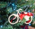 Bicycle decoration on christmas tree