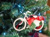 Bicycle decoration on christmas tree