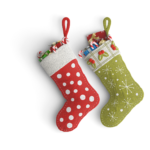 two christmas stockings filled with gifts