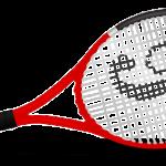 tennis racket with yellow tennis ball