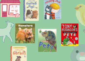 Green poster with images of covers of books about various pets