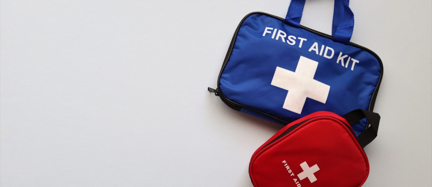 Large blue bag with first aid kit written on it and smaller red first aid kit