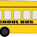 Yellow cartoon style bus with SCHOOL BUS on the side